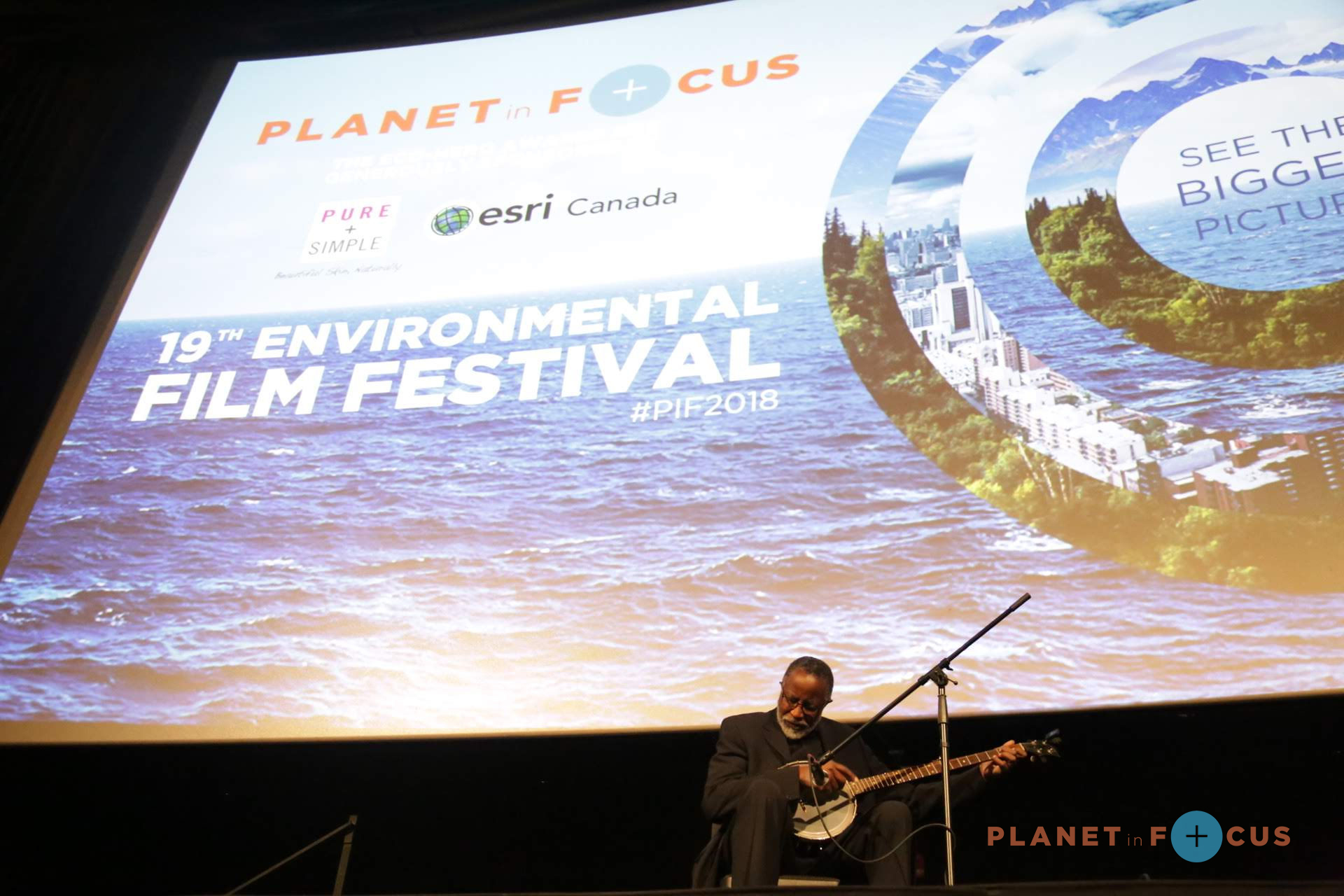 Ending the festival on an inspirational note, we honoured our 2018 International Eco-Hero Dr. John Francis, The Planet Walker. During the awards ceremony we also celebrated our Youth Eco-Hero Rachel Parent, and Dr. Francis graced the audience with a banjo performance. After the awards ceremony we screened Andrew Nisker's personal piece Ground War, followed by a post screening discussion with Dewayne Lee Johnson.