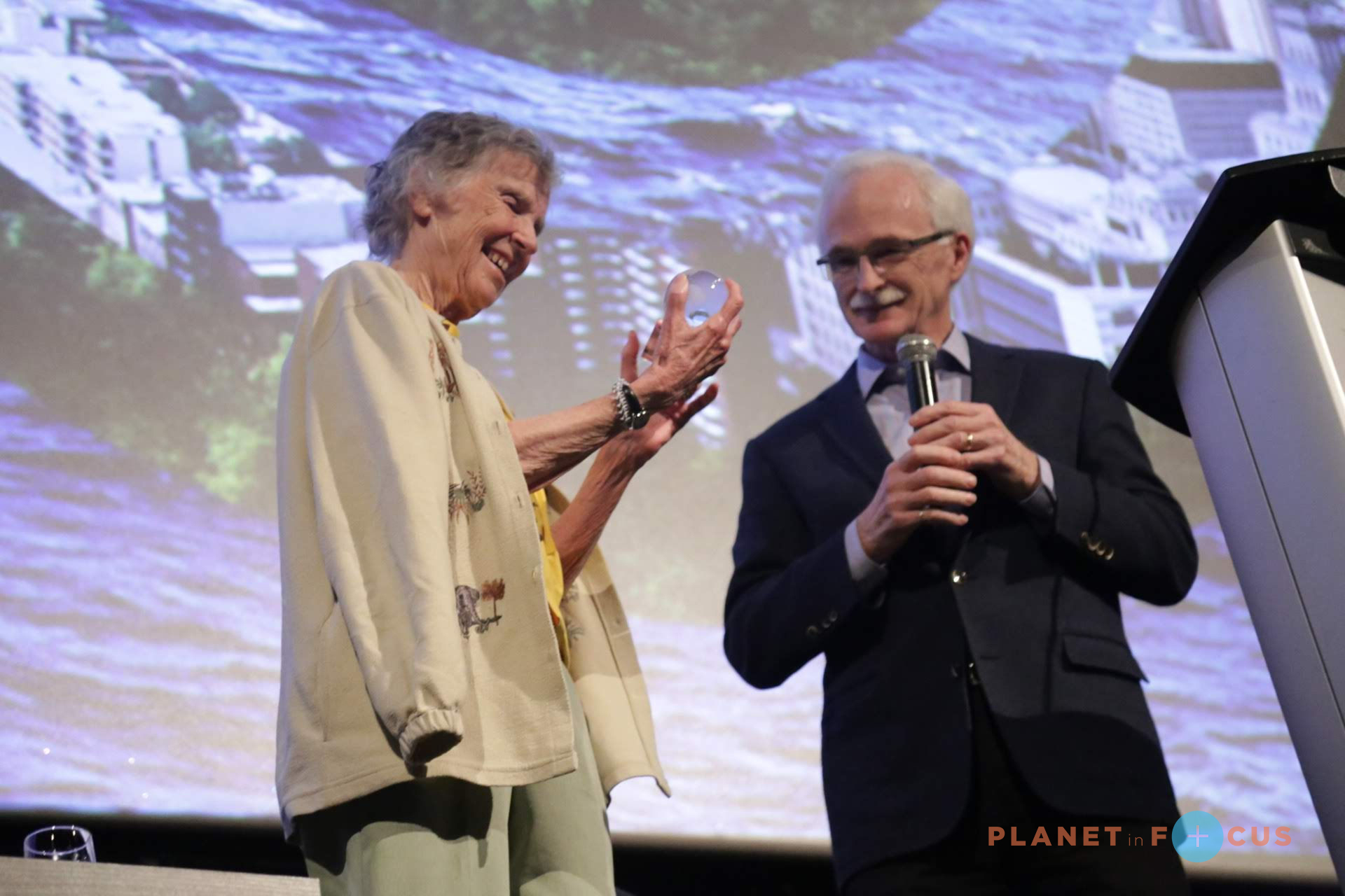 Planet in Focus kicked off with a special launch event honouring our 2018 Canadian Eco-Hero, Dr. Anne Innis Dagg, for her extensive research on giraffes and feminist activism. To further honour the world's first 'giraffologist' and the first person to study animal behaviour in the wild, we screened The Woman Who Loves Giraffes, a film about Dagg's life and research.